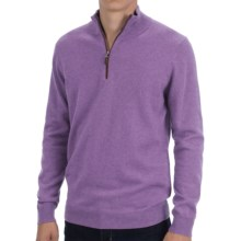 Forte Cashmere Fitted Sweater - Zip Mock Neck (For Men) in Elderberry - Closeouts