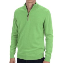 Forte Cashmere Fitted Sweater - Zip Mock Neck (For Men) in Meadow - Closeouts