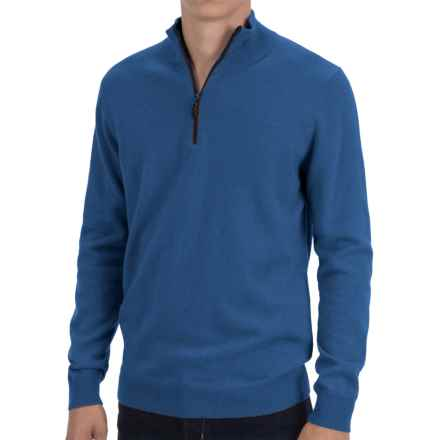 Forte Cashmere Fitted Sweater - Zip Mock Neck (For Men) in Nightsky - Closeouts