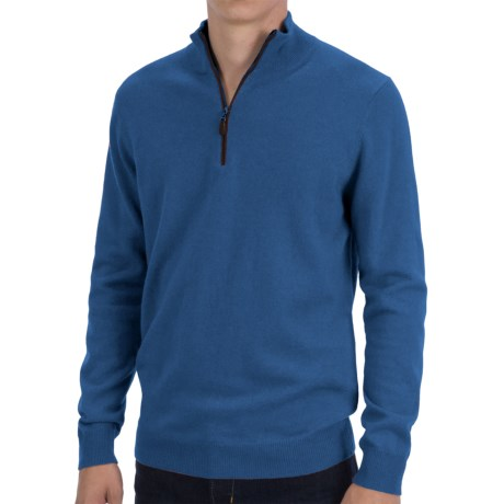 Forte Cashmere Fitted Sweater - Zip Mock Neck (For Men) in Nightsky