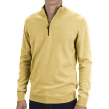 Forte Cashmere Fitted Sweater - Zip Mock Neck (For Men) in Straw - Closeouts