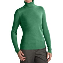 Forte Cashmere Fitted Turtleneck Sweater (For Women) in Emerald - Closeouts