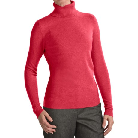 Forte Cashmere Fitted Turtleneck Sweater (For Women) in Rouge