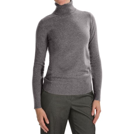 Forte Cashmere Fitted Turtleneck Sweater (For Women) in Zinc