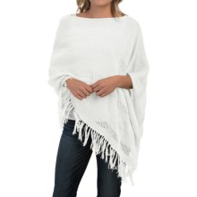 Forte Cashmere Fringed Cotton Poncho (For Women) in Chalk - Closeouts