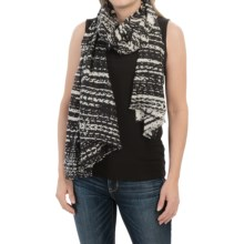 Forte Cashmere Fringed Silk and Cashmere Scarf (For Women) in Black Multi - Closeouts