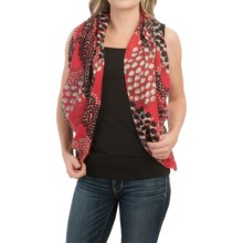 Forte Cashmere Fringed Silk and Cashmere Scarf (For Women) in Cardinal Bias Dot - Closeouts