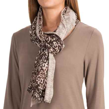 Forte Cashmere Leopard Geo Print Scarf - Cashmere and Silk (For Women) in Espresso Multi - Closeouts
