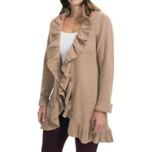 Forte Cashmere Long Cardigan Sweater - Ruffle Trim (For Women) in Latte - Closeouts
