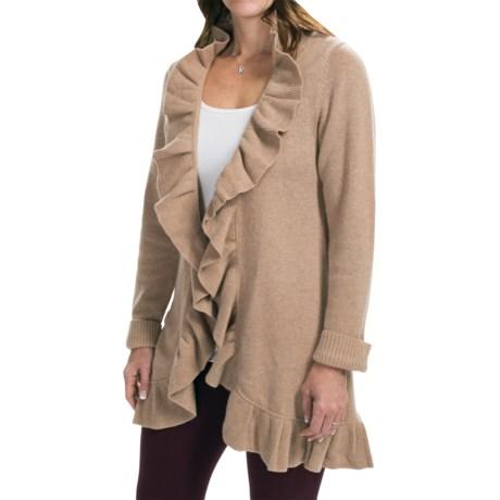 Forte Cashmere Long Cardigan Sweater - Ruffle Trim (For Women) in Latte