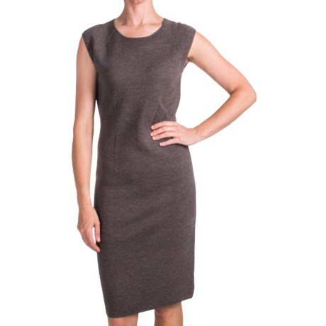 Forte Cashmere Luxe Merino-Silk Dress - Sleeveless (For Women) in Mushroom