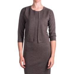 Forte Cashmere Luxe Milano Crop Cardigan Sweater - Merino Wool-Silk, 3/4 Sleeve (For Women) in Mushroom