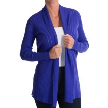Forte Cashmere Merino Wool-Silk Drop-Needle Cardigan Sweater (For Women) in Purple - Closeouts