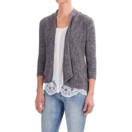 Forte Cashmere Mesh Stitch Cardigan Sweater - Cotton, 3/4 Sleeve (For Women) in Jetty - Closeouts