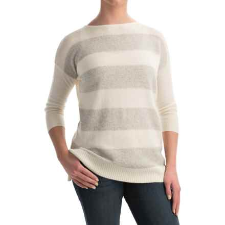 Forte Cashmere Mixy Striped Cashmere Sweater - Ballet Neck, 3/4 Sleeve (For Women) in Ivory Multi - Closeouts