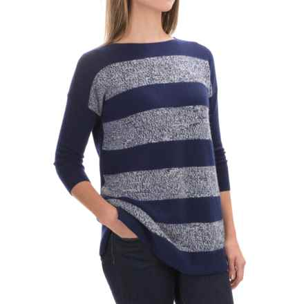 Forte Cashmere Mixy Striped Cashmere Sweater - Ballet Neck, 3/4 Sleeve (For Women) in Navy Multi - Closeouts