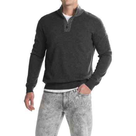 Forte Cashmere Mock Neck Sweater - Cashmere, Zip Neck (For Men) in Charcoal - Closeouts