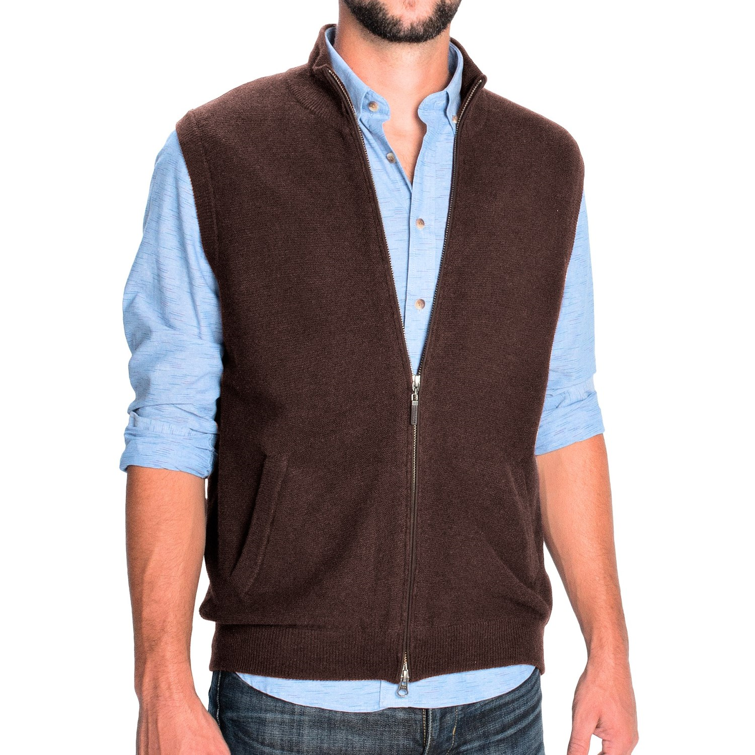 Zip Neck Sweater Vest - Cashmere Sweater England