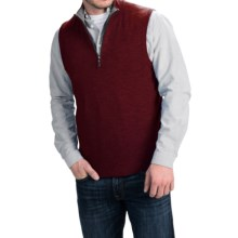 Forte Cashmere Mock Zip Neck Sweater Vest - Cashmere (For Men) in Cordovan/Charcoal - Closeouts