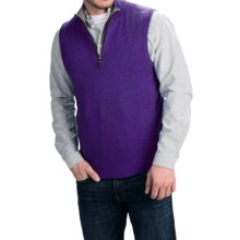 Forte Cashmere Mock Zip Neck Sweater Vest - Cashmere (For Men) in Mulberry/Zinc - Closeouts