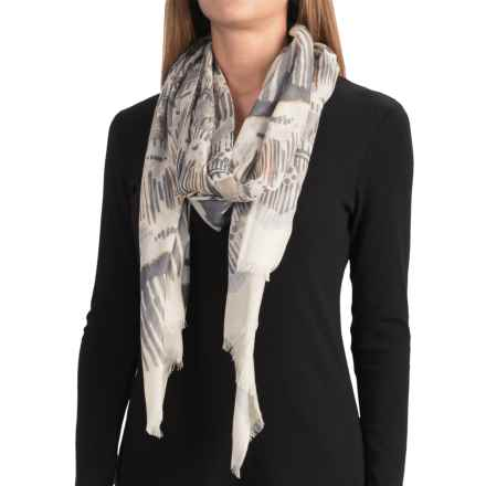 Forte Cashmere Painted Ikat Print Scarf - Cashmere and Silk (For Women) in Mink - Closeouts