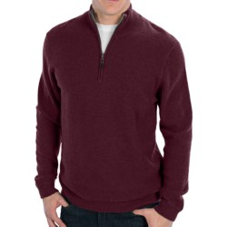 Forte Cashmere Pique Sweater - Mock Zip Neck (For Men) in Blackberry