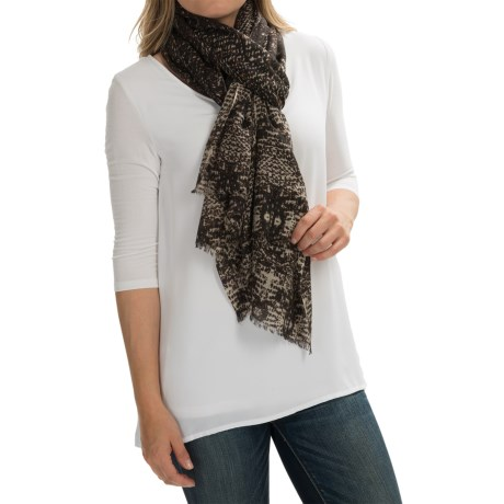 Forte Cashmere Pixelated Animal Print Scarf - Cashmere and Silk (For Women) in Expresso Multi