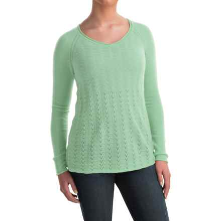 Forte Cashmere Pointelle Front Cashmere Sweater (For Women) in Mint - Closeouts