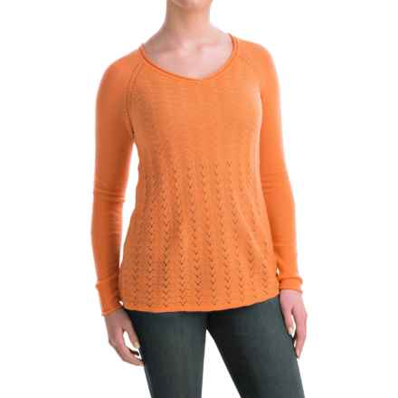 Forte Cashmere Pointelle Front Cashmere Sweater (For Women) in Tangerine - Closeouts