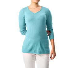 Forte Cashmere Pullover Sweater - Rolled V-Neck, 3/4 Sleeve (For Women) in Azure - Closeouts