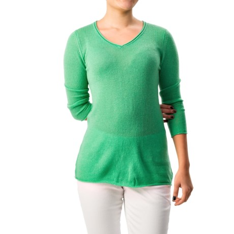 Forte Cashmere Pullover Sweater Rolled V Neck, 3/4 Sleeve (For Women)