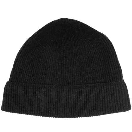 Forte Cashmere Ribbed Beanie - Cashmere (For Men) in Black - Closeouts
