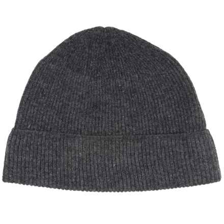 Forte Cashmere Ribbed Beanie - Cashmere (For Men) in Charcoal - Closeouts