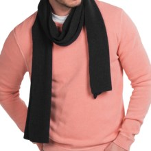 Forte Cashmere Ribbed Scarf - Cashmere (For Men) in Black - Closeouts