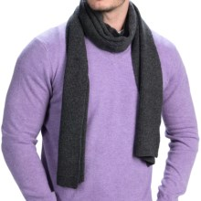 Forte Cashmere Ribbed Scarf - Cashmere (For Men) in Charcoal - Closeouts