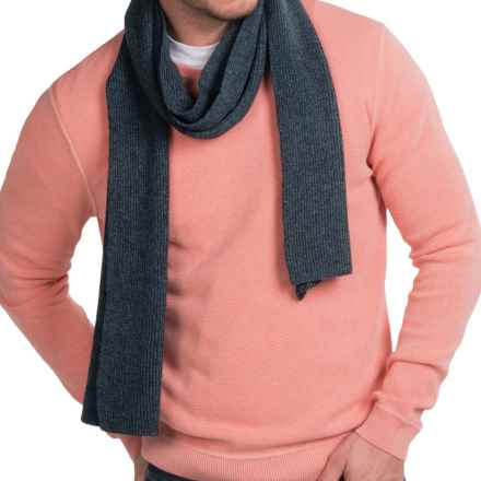 Forte Cashmere Ribbed Scarf - Cashmere (For Men) in Midnight - Closeouts