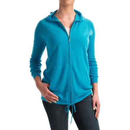 Forte Cashmere Ribbed Sleeve Cashmere Hoodie - Full Zip (For Women) in Paradise - Closeouts