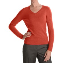 Forte Cashmere Ribbed V-Neck Sweater- Cashmere (For Women) in Autumn - Closeouts