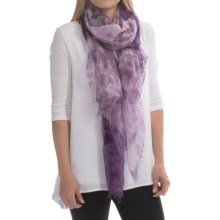 Forte Cashmere Scarf - Gauzy Atmosphere Print (For Women) in Mulberry Multi - Closeouts