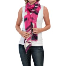 Forte Cashmere Silk and Cashmere Scarf (For Women) in Fuchsia Abstract Plaid - Closeouts