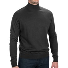 Forte Cashmere Silk Blend Sweater - Mock Neck (For Men) in Black - Closeouts