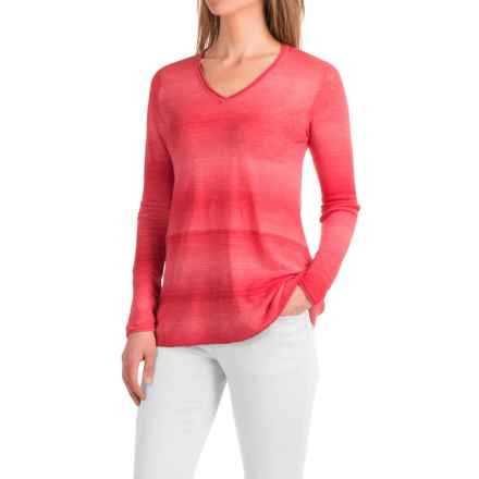 Forte Cashmere Space-Dyed Knit Shirt - Linen, Long Sleeve (For Women) in Salmon - Closeouts
