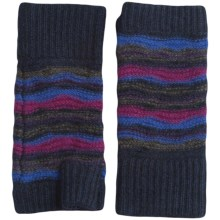 Forte Cashmere Striped Texting Gloves - Fingerless (For Women) in Midnight Multi - Closeouts