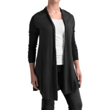 Forte Cashmere Swing Back Cardigan Shirt - Merino Wool-Silk, Long Sleeve (For Women) in Black - Closeouts