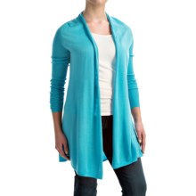 Forte Cashmere Swing Back Cardigan Shirt - Merino Wool-Silk, Long Sleeve (For Women) in Capri - Closeouts