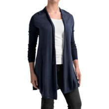 Forte Cashmere Swing Back Cardigan Shirt - Merino Wool-Silk, Long Sleeve (For Women) in Navy - Closeouts