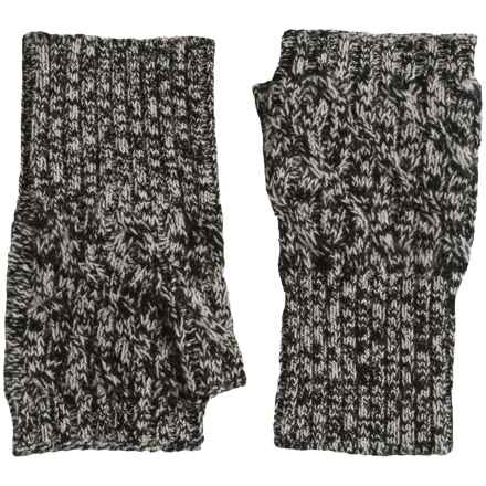 Forte Cashmere Texting Gloves - Fingerless (For Women) in Black/Ecru Marl - Closeouts