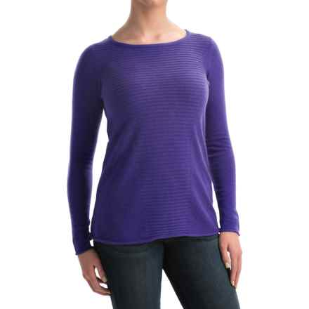 Forte Cashmere Textured Front Swing Top Cashmere Sweater (For Women) in Violet - Closeouts