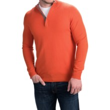 Forte Cashmere Tipped Mock Neck Sweater - Hidden Zip Neck (For Men) in Flame/Zinc - Closeouts