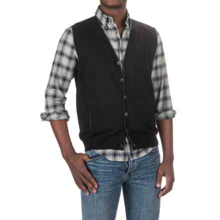 Forte Cashmere Tipped Ottoman Cardigan Sweater (For Men) in Black - Closeouts